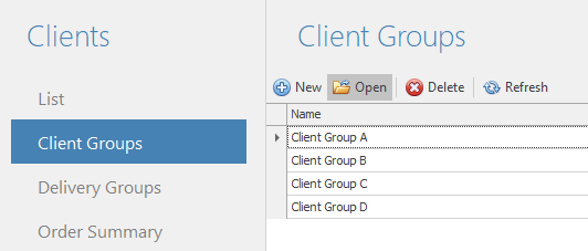 Select client groups