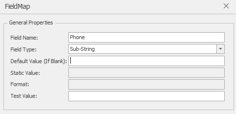 In order to add the sub-string of a field, you will need to divide the field into sections and create an individual field for each division. For instance, a phone number will be divided into Area Code – Prefix – Suffix from the single field of Phone.