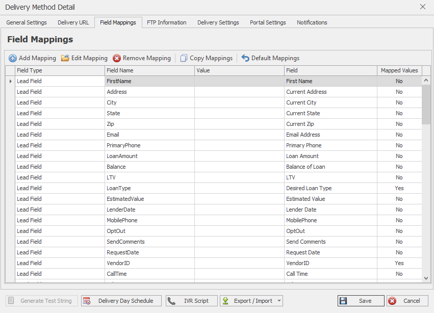 Now ensure that you have Default Mappings set, under your Field Mappings tab.