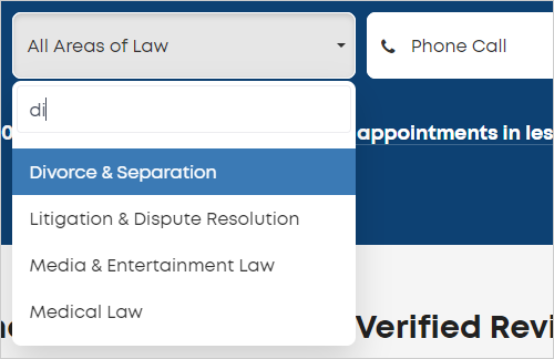 LawTap basic search function - select area of law