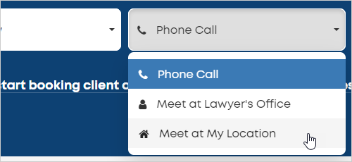 LawTap basic search function - select appointment type