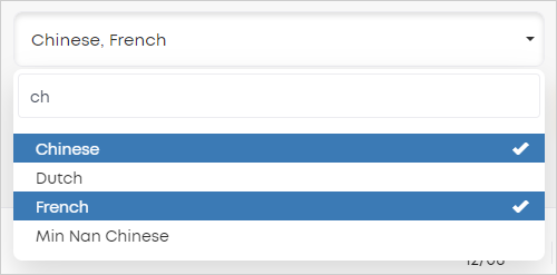 LawTap advanced search languages pick list