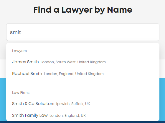 LawTap Find a Lawyer by Name search function
