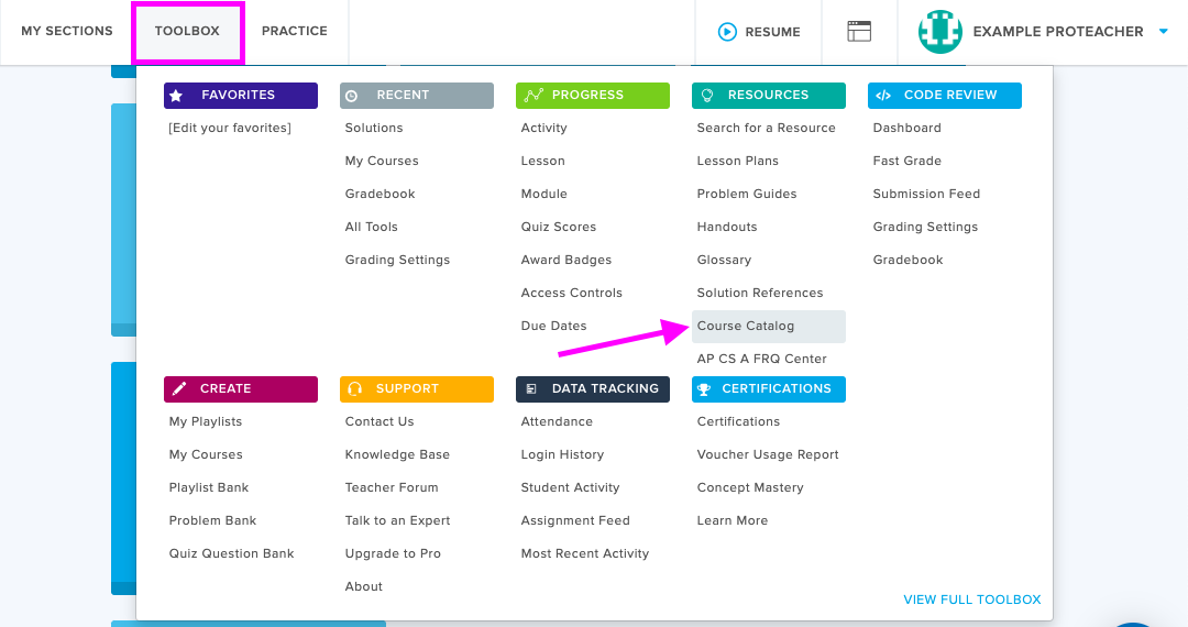 highlight of tool box in top nav, arrow points to course catalog under resources