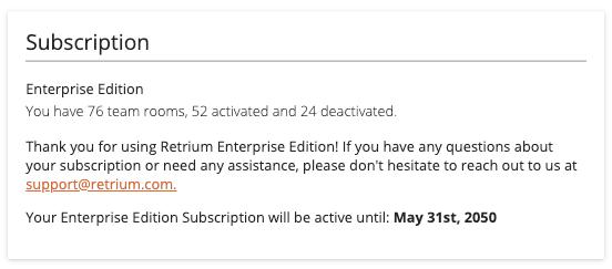 retrium account subscription details