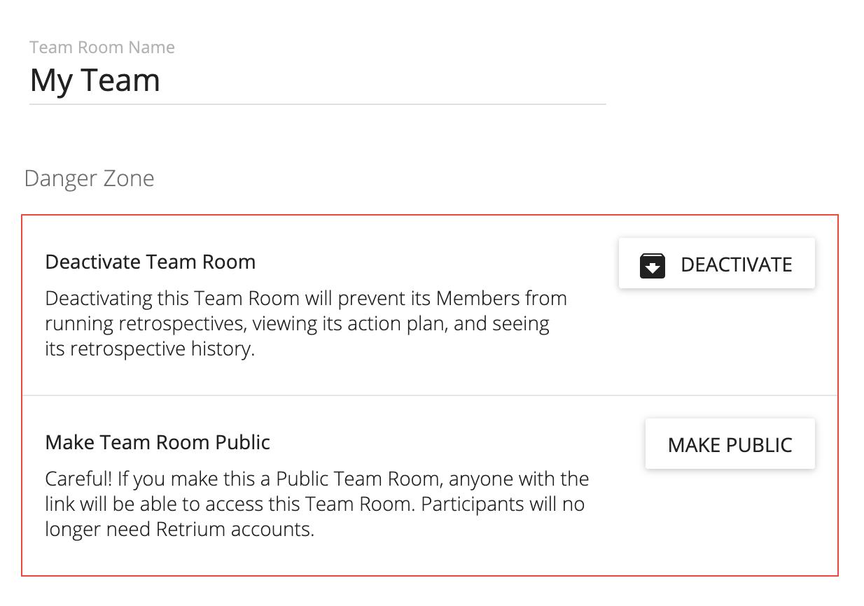 team room settings