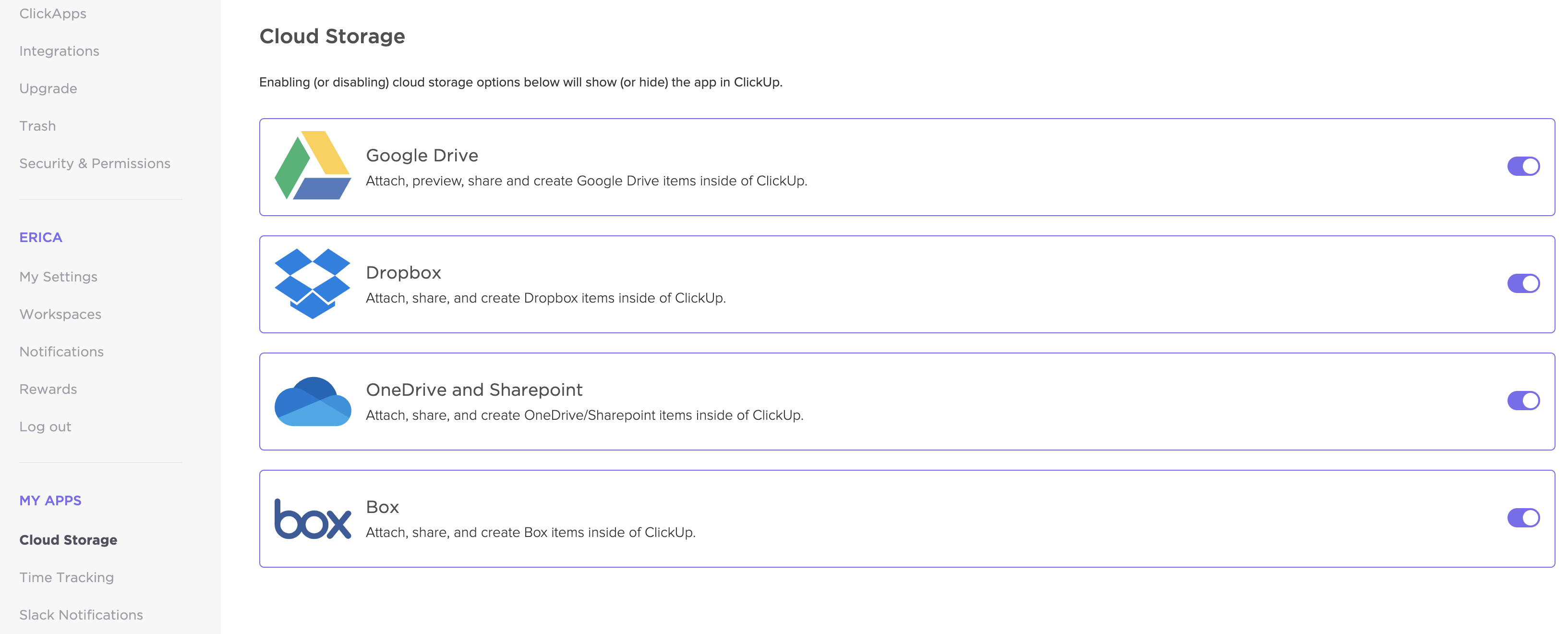 A view of the cloud storage section of ClickUp.