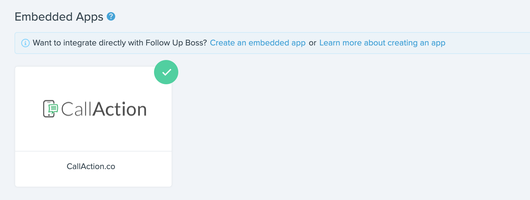Follow Up Boss Integration with embedded app