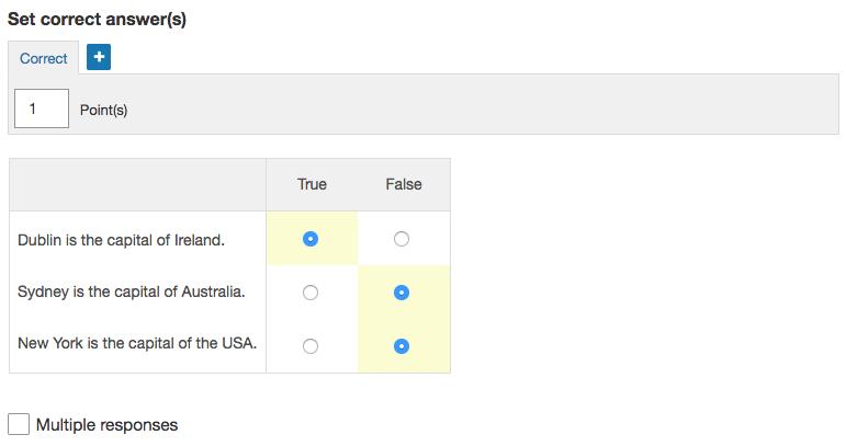 Choice matrix question validation.