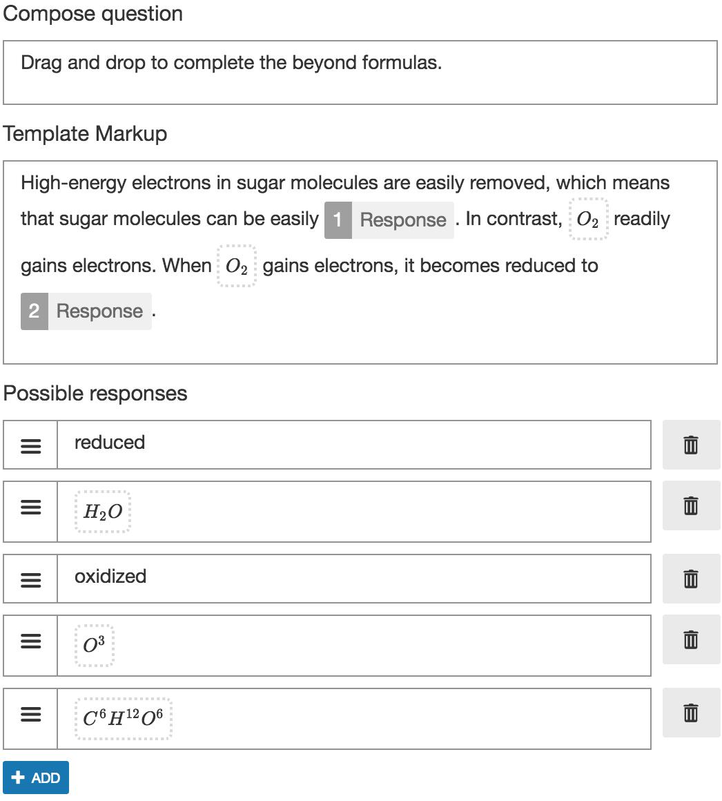 Cloze Drag & Drop basic parameters