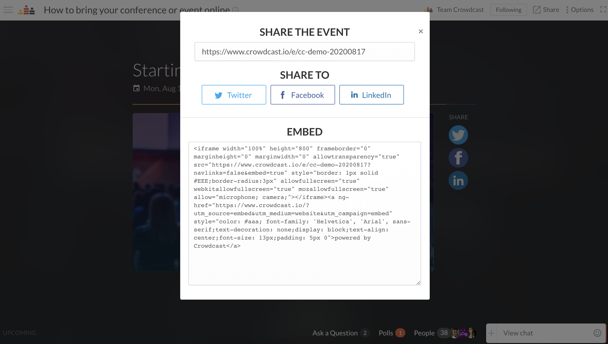 copy embed code that pops up