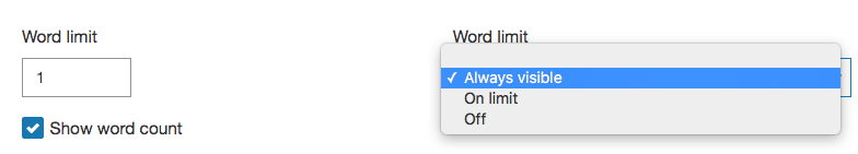 Word limit and word count controls.