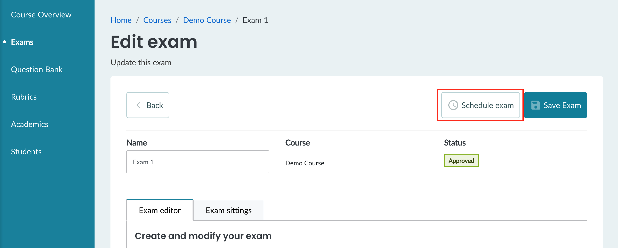 An approved exam with a 'Schedule exam' button