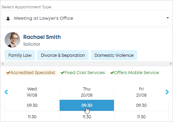 LawTap select appointment in lawyer's calendar