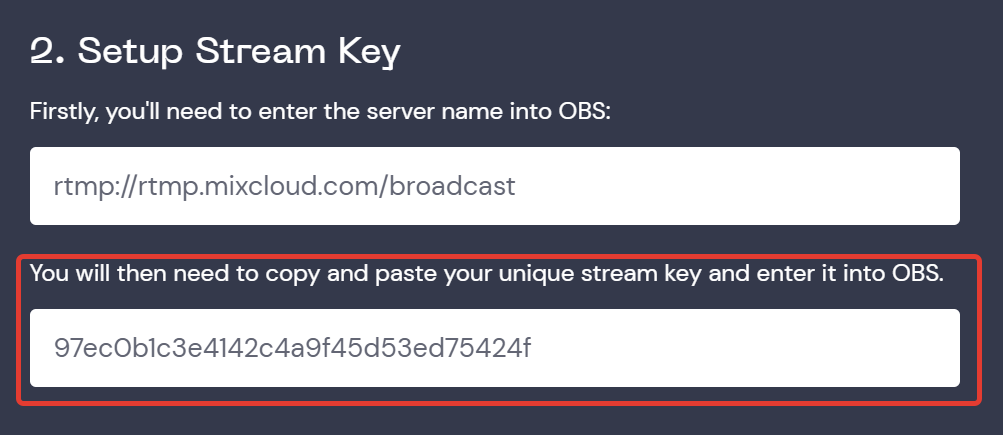 Mixcloud stream key setup