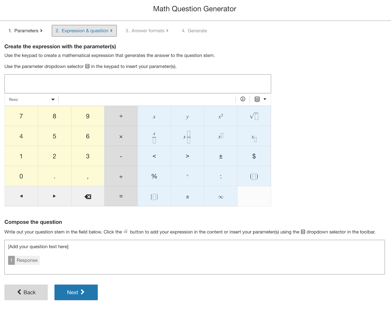 Creating your mathematical expression