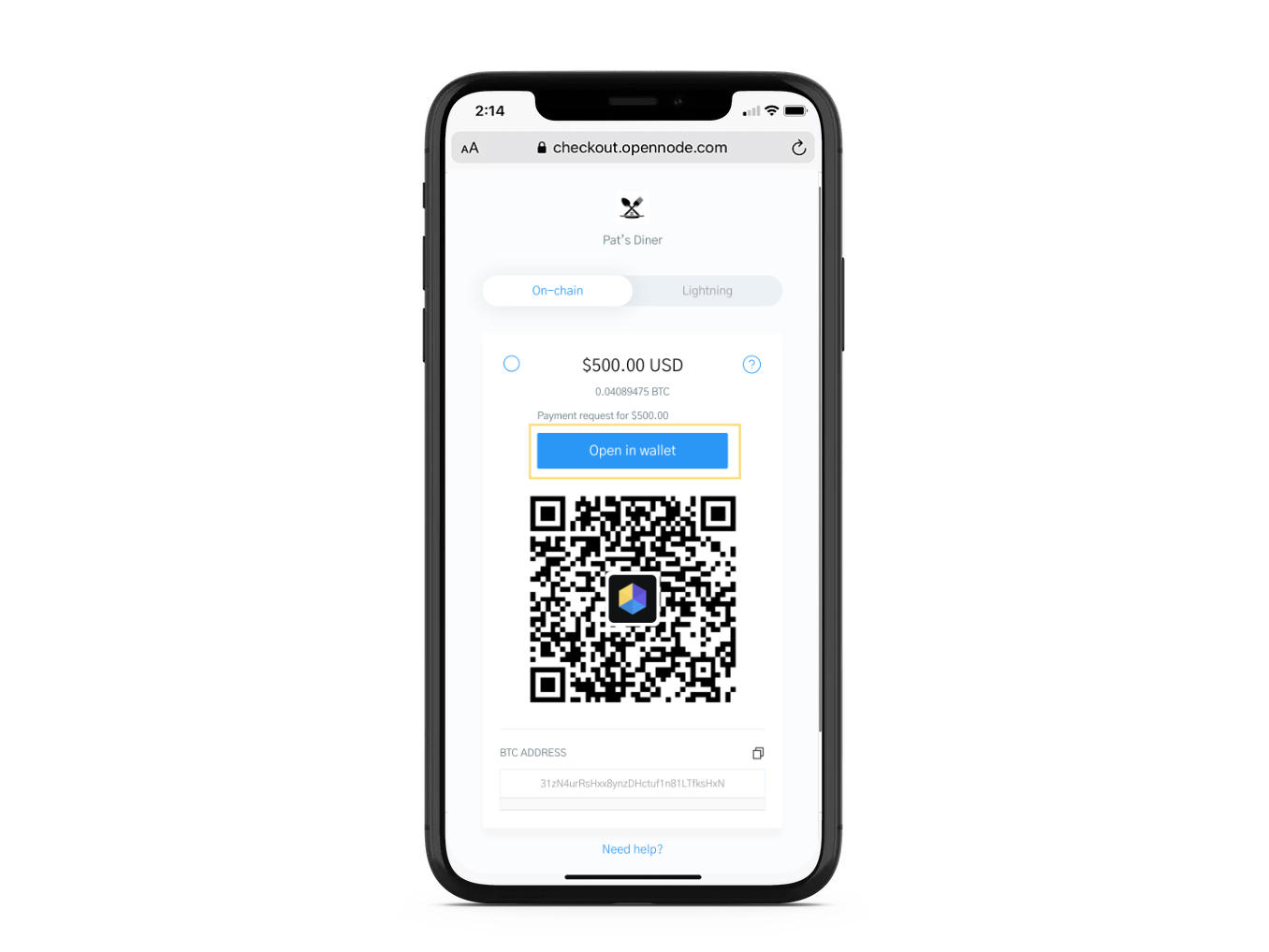 Image of a phone displaying a Bitcoin checkout on OpenNode