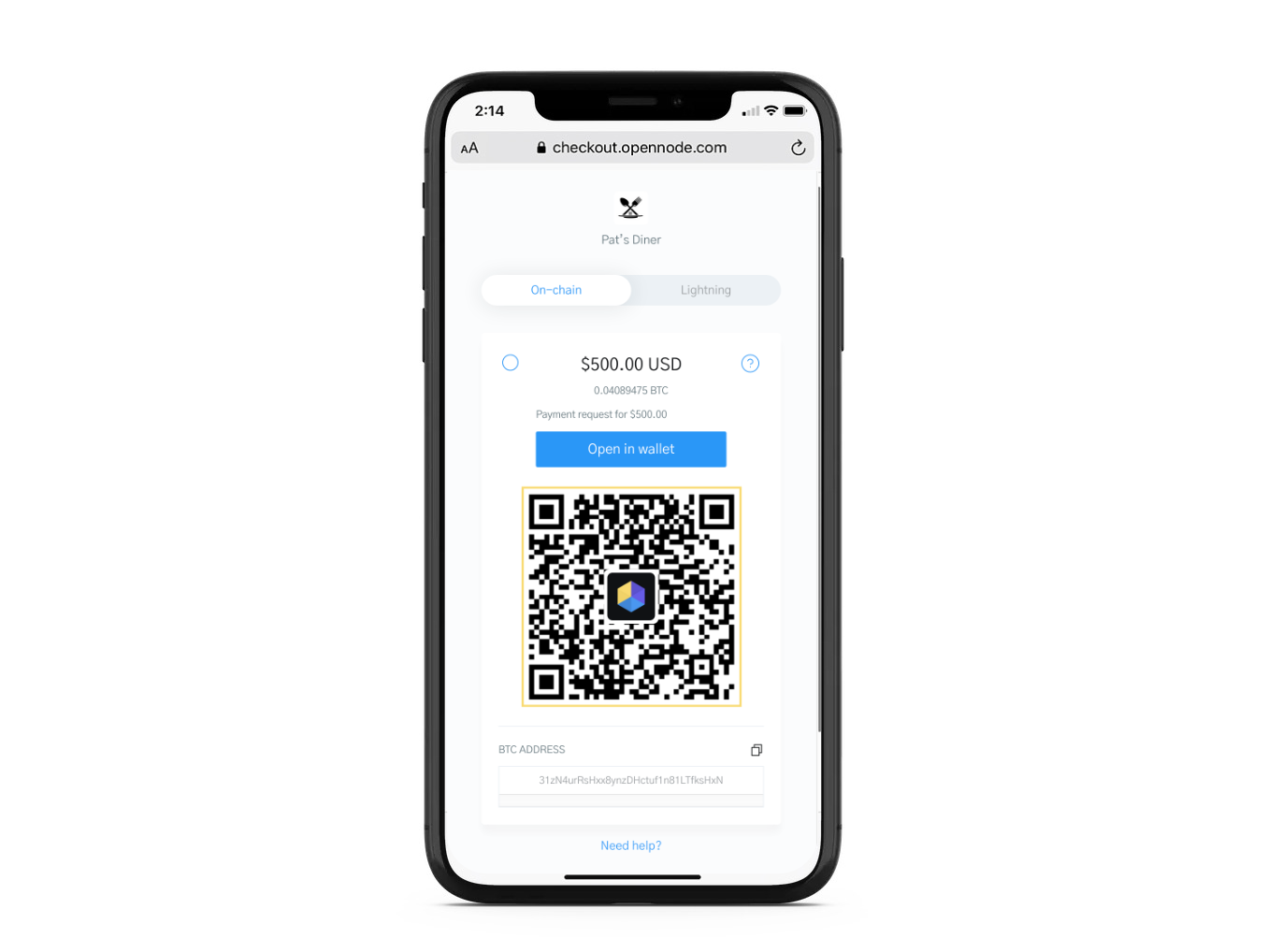 Image of a Bitcoin Checkout with focus on the QR code