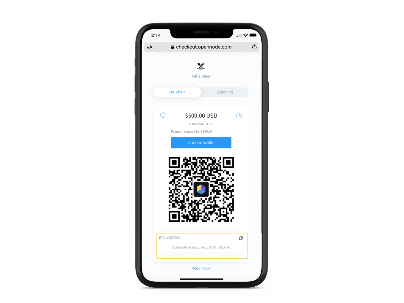 Image of a phone displaying a Bitcoin checkout on OpenNode with focus on the Bitcoin Wallet Addrress