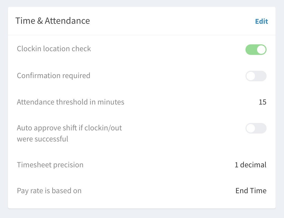 Enable location check for time & attendance