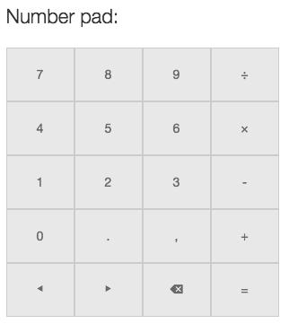 Custom number pad