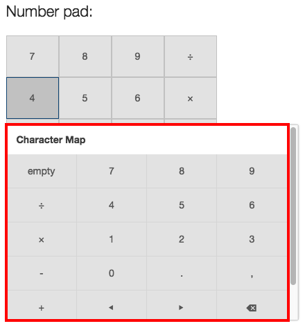 Selecting symbols for the number pad.