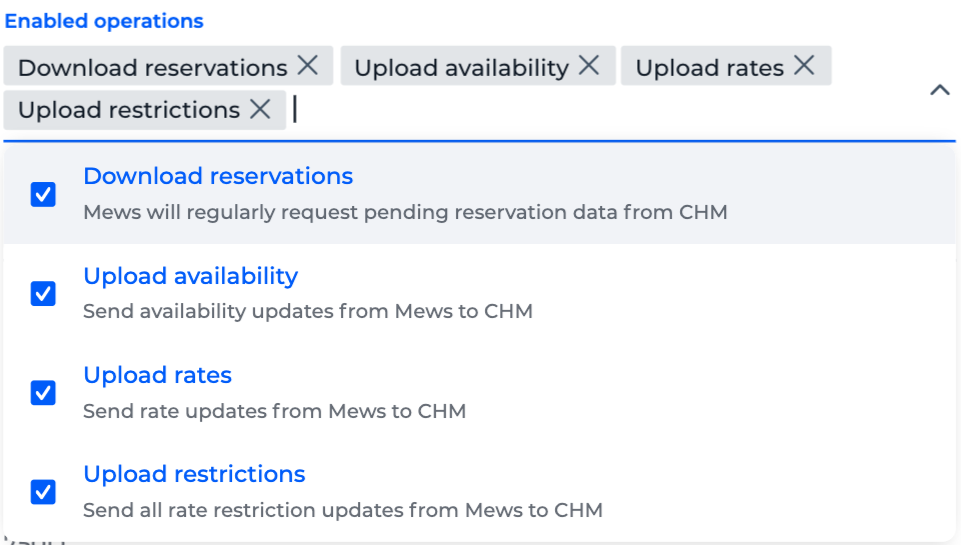 Enabled operations in channel manager settings