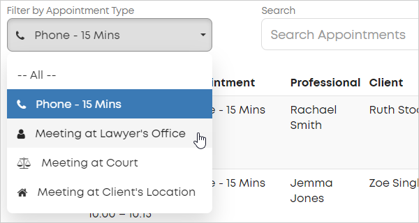 LawTap Firm Dashboard - Filter by Appointment Typer field