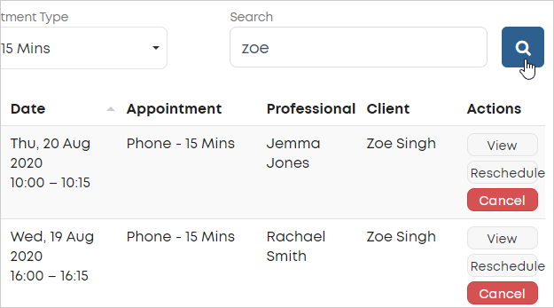 LawTap Firm Dashboard - Search appointments