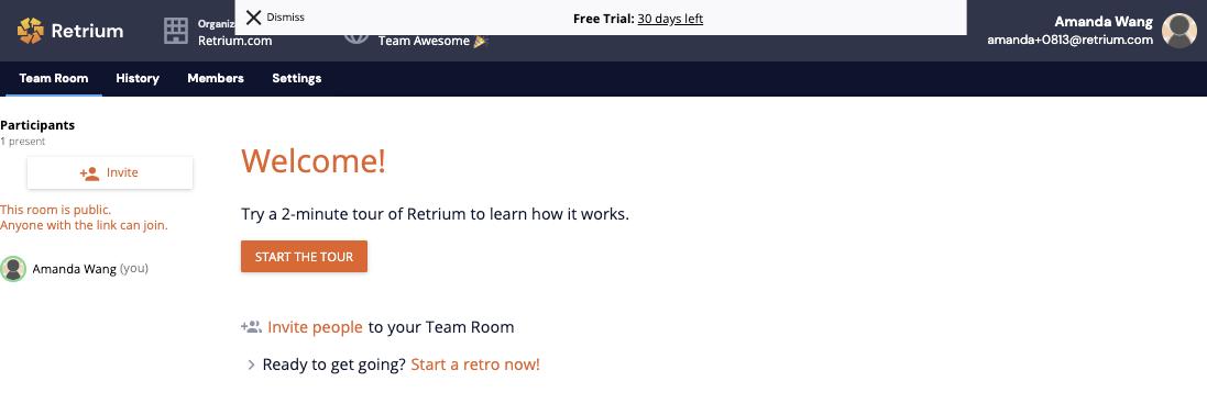 your first team room in Retrium