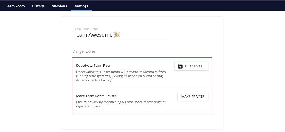Team room settings - Retrium