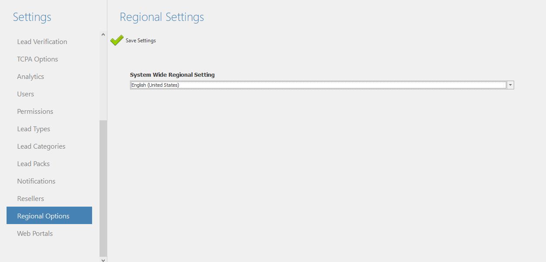 Regional settings menu.