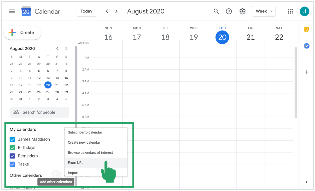 Google cal add calendar from url