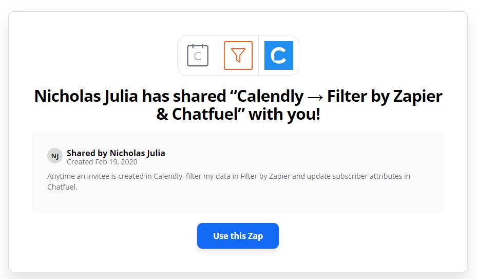 zapier chatbot template calendly