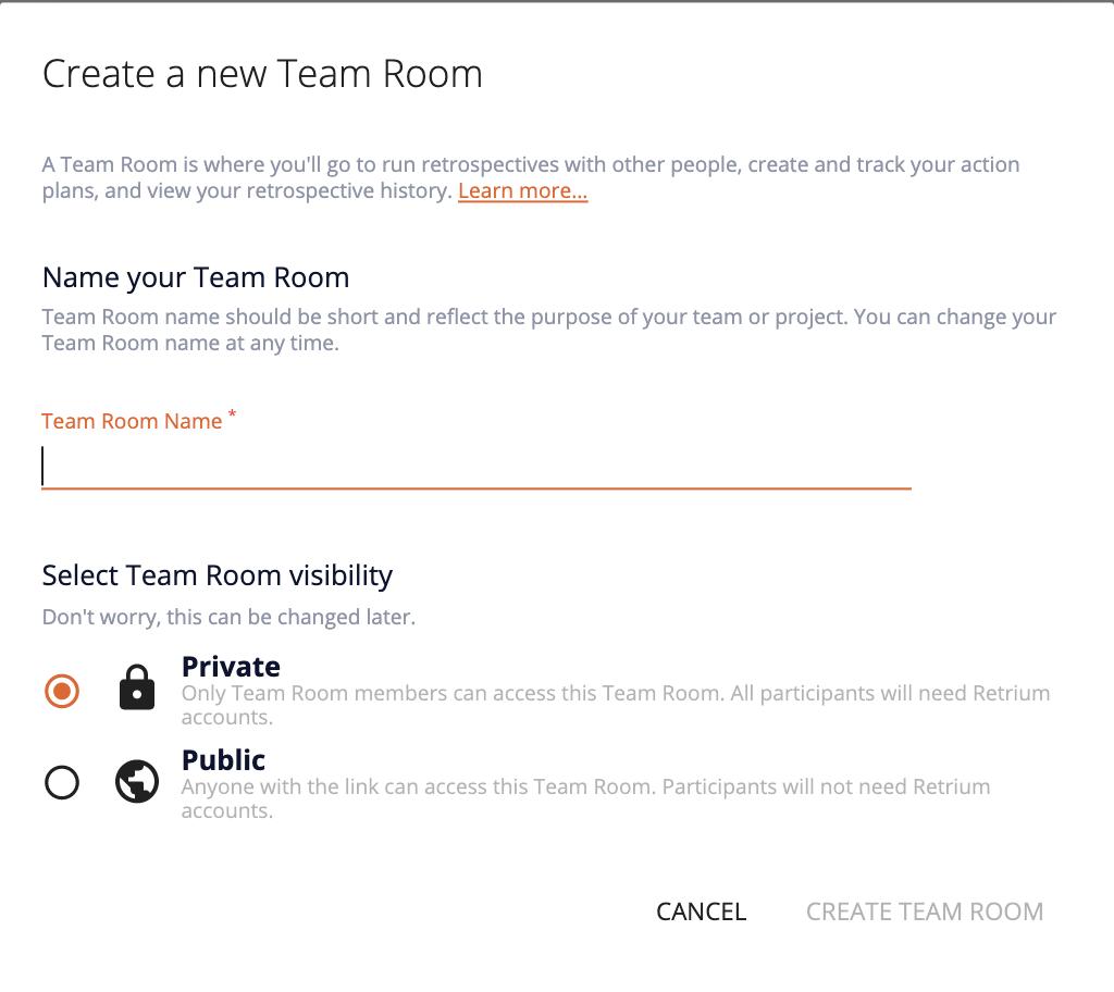 create a new team room popup in Retrium