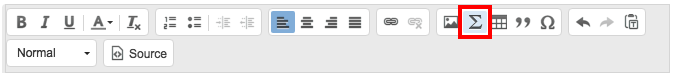 Math editor button in the rich text toolbar