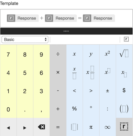 Authoring a math question with the LaTeX keypad