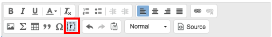 Insert response container button in the rich text toolbar.