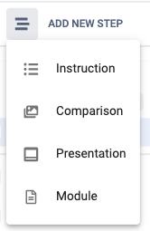 add a new step context menu