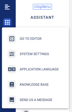 Assistant - System settings, assistant and editor switcher as well application language switcher