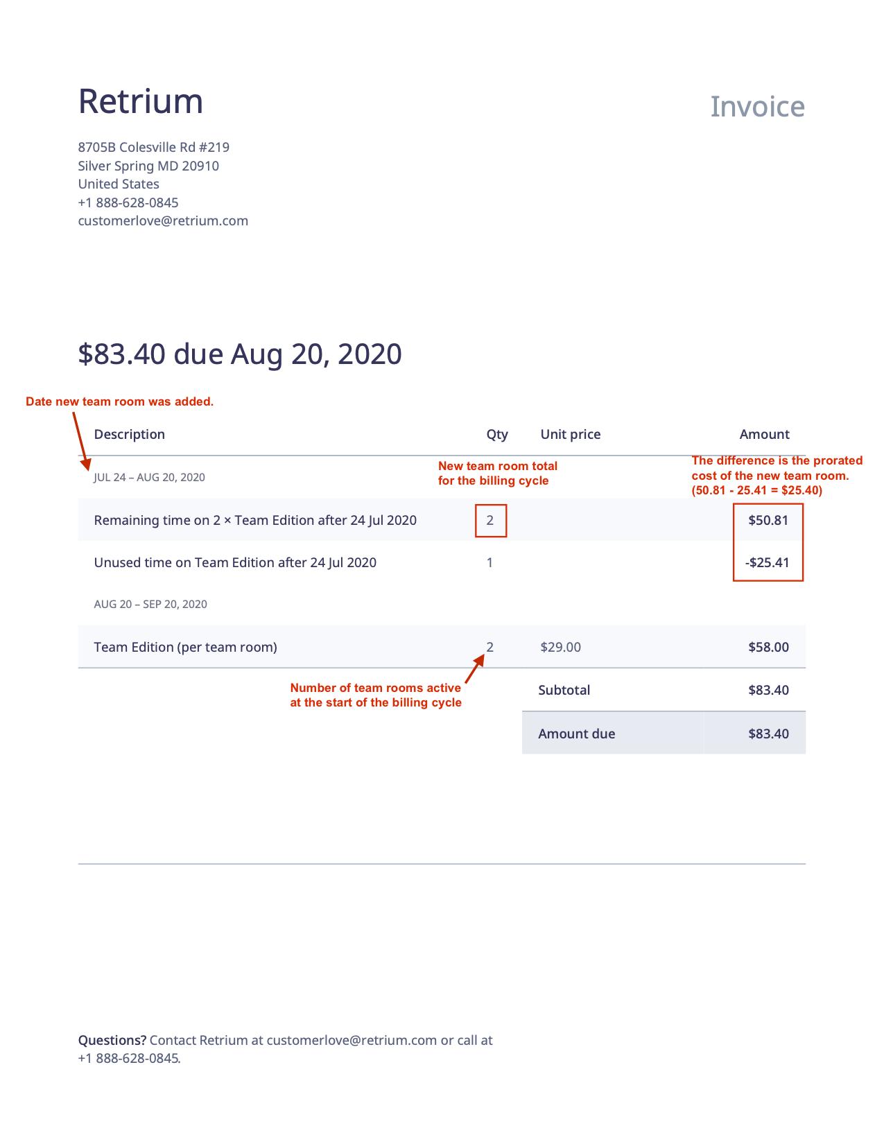 a picture of a retrium invoice
