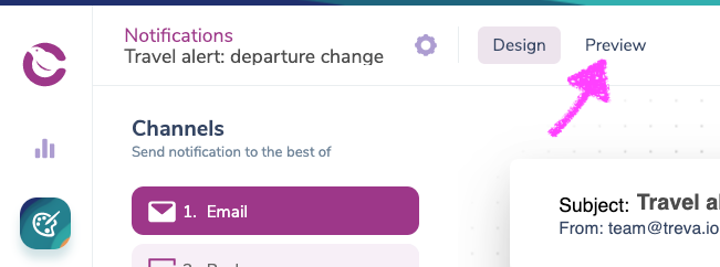 Previewing a Notification in Courier