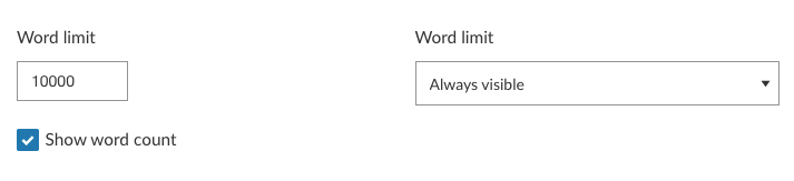 Word limit and word count controls