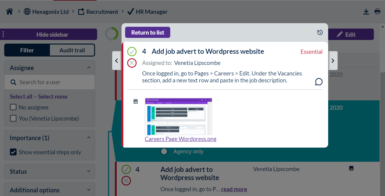 Screenshot of a Process Bliss step where there is an embedded image of a Wordpress page.