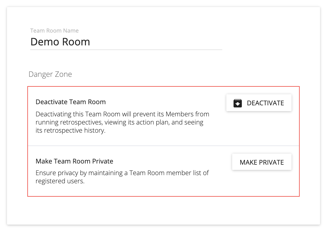 click the deactivate button to deactivate your team room