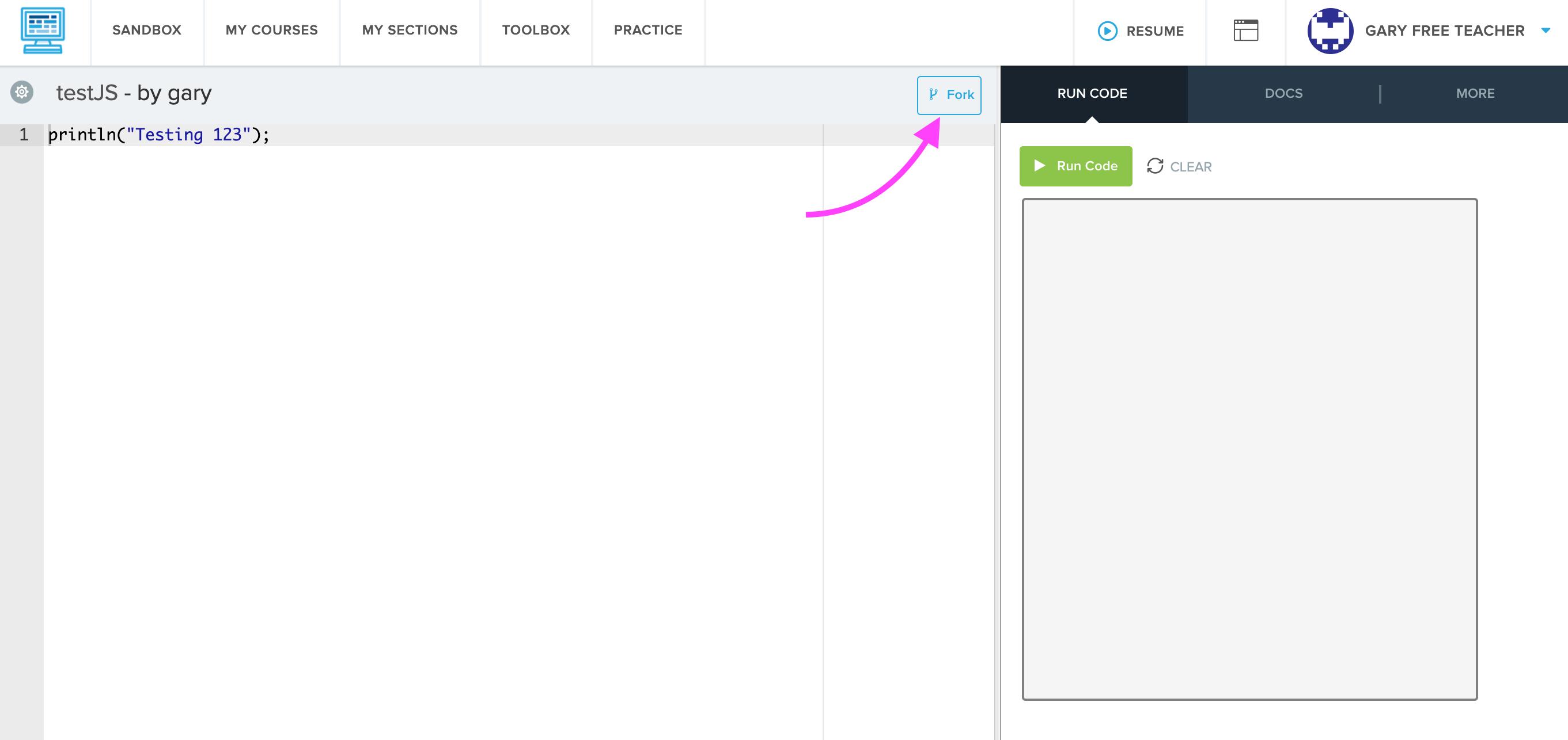 screenshot highlighting Fork button on a Sandbox program