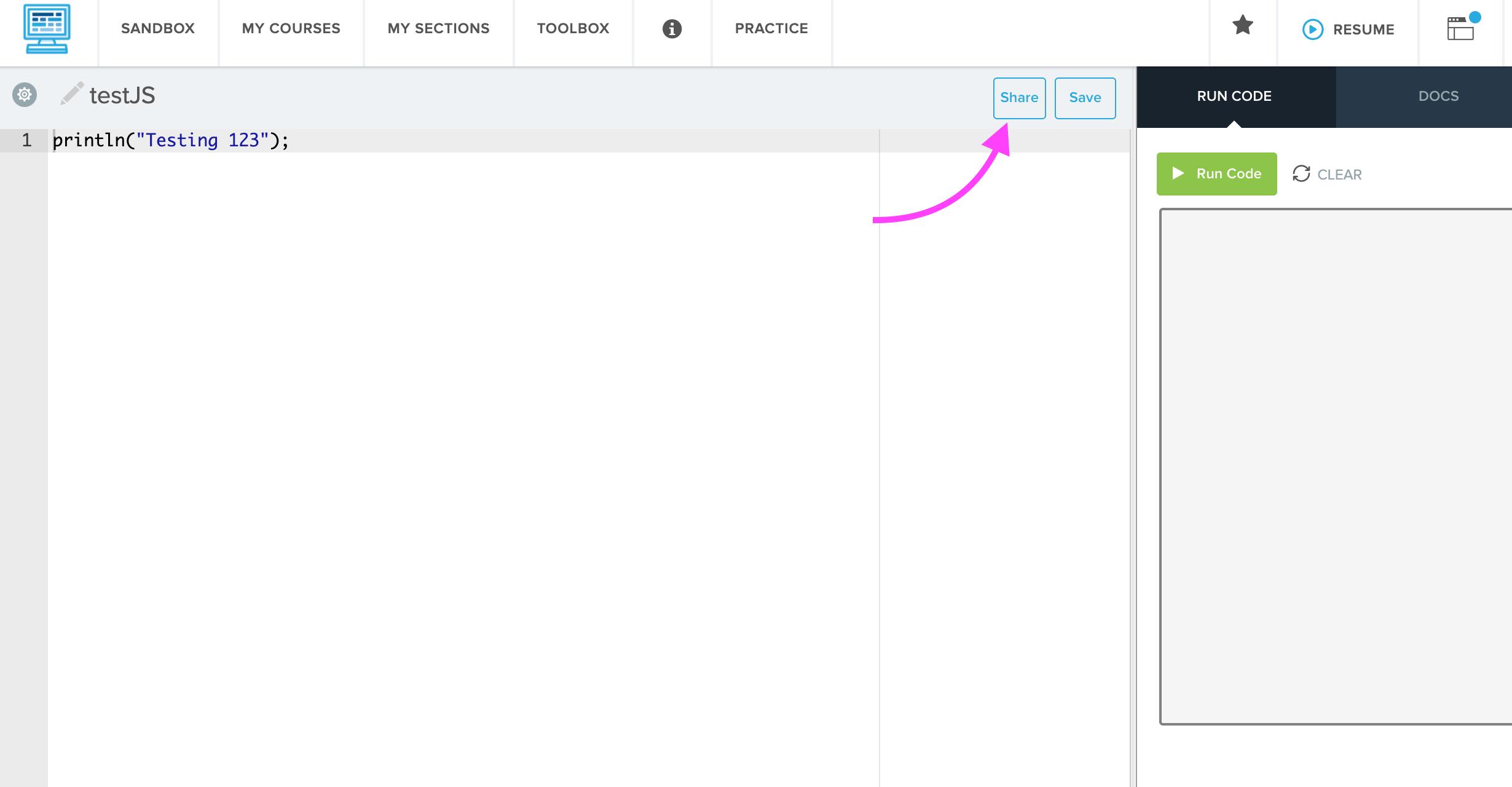screenshot highlighting the Share button