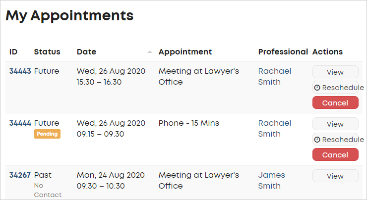LawTap My Appointments table