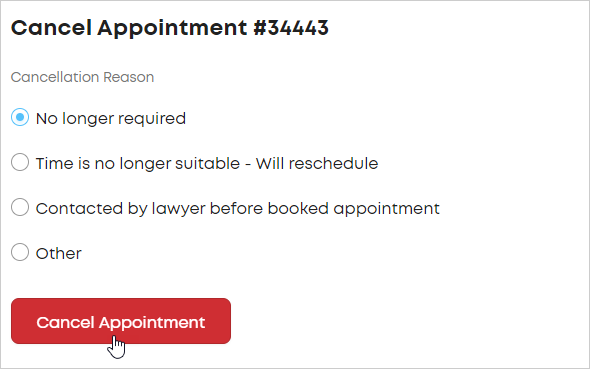 LawTap Cancel Appointment form