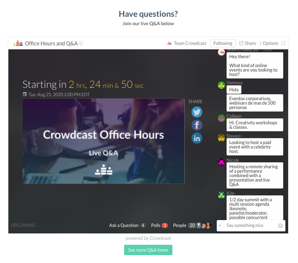The crowdcast event embedded on a website homepage